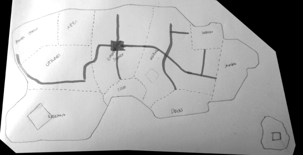 Open world map, thick black lines were main roads
